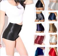 Wholesale Girls Shorts Floral Pants - Women's Shorts High Waisted Hot Pants High Waist Shiny Stretch Womens Girls Disco Satin Short Pants