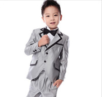 Wholesale Tie Fit Baby - In Stock 2015 Grey Silver boys wedding suits Prince baby boy suits for wedding Toddler tuxedos men suits(Jacket+vest+pant+tie) Custom Made