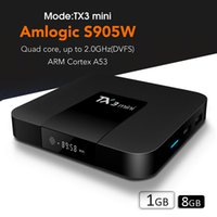 Wholesale best android set top box for sale - Group buy TV Set Top Box best s905W TV Box TX3 MINI free movies streaming Digital display Android Smart TV Box K support WiFi Lan