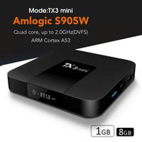 ingrosso casella di stream gratuito-TV Set Top Box 2019 migliore s905W TV Box TX3 MINI film gratuiti streaming Display digitale Android 7.1 Smart TV Box 4K supporto WiFi Lan