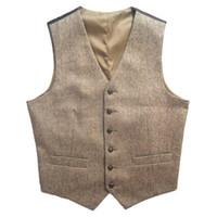 Wholesale country standards - 2018 Tweed Vintage Rustic Wedding Vest Brown with Leather Effect Buttons Winter Slim Fit Groom's Wear Country wedding groomsmen wear