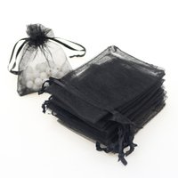 Wholesale Sheer Organza Jewelry Pouches - 7x9cm Blcak Organza Jewelry Gift Bags Pouches For Wedding Strong Sheer Organza Pouch Customed Logo Printed 100pcs lot Wholesale
