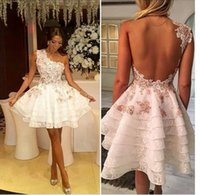Wholesale Layered One Shoulder Dress - Fashion white short prom dresses custom made one shoulder lace appliques party gowns a line layered backless cocktail dress vestido