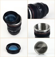 Wholesale thermal lens mug - Portable Coffee Cup Camera Lens Six Generation Creative Emulation Mug With Lid Travel Water Bottles Multicolor 14fx C R