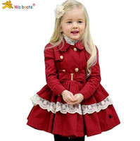 Wholesale New Girl Coats - Girls Tench Coat 2015 Autumn New Korean Style Children Outwear With Lace Long Style Double-breast Teenagers Jacket 100-140 Fit 3-9Age