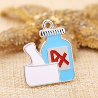 Wholesale Baby Blue Necklace - New Popular Design Blue Feeding-bottle For Baby Single Side Charms for DIY Jewelry Making Fit To Necklace And Bracele