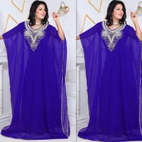 Wholesale Plus Size Prom Dress Shops - 2015 Arabic Dresses Evening Blue Chiffon Long Floor Length Beaded Crystals Prom Party Gowns For Womens Custom Made Dress On Line Shop China