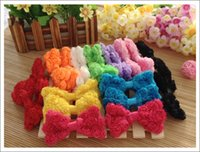 Wholesale Diy Hair Accessory - 120pcs lace rose chiffon ribbon Bowknot Kids Girls hair accessory corsage clothing applique DIY bowknot for hairbands