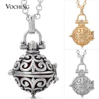 Wholesale brass chimes - Cage Angel Chime Ball Small 12mm 3 Colors Copper Angel Ball in Chain Necklaces with Stainless Steel Chain VA-031