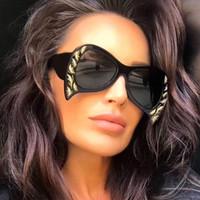 Wholesale cat bats - New Brand Designer Bat Sunglasses Women Butterfly Sun Glasses Luxury Carved Big Frame Couple Eyewear 2018 Model Fashion Glasses