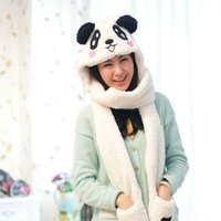 Wholesale Womens Scarf Gloves Set - Wholesale-2015 Winter Cartoon Panda Womens Hat Scarf Gloves One Piece Warm Soft Plush Faux Fur Hooded Cap Scarves Hood Pocket Wholesale Z7