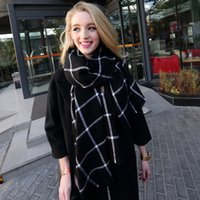 Wholesale Checked Wool Blanket - 2016 Many manufacturers wholesale cashmere shawl scarves New Lady Women Blanket black white Plaid Cozy Checked Tartan Scarf Wraps shawl 298y