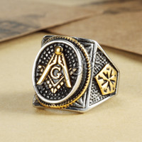 Wholesale Mason Rings Men - Unique design 316L stainless steel gold free mason masonic master ring freemason signet rings jewelry for men