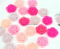 Wholesale Assorted Flat Back Resins - 200pcs big 28mm sale Resin Rose Flowers Flat Backs in Assorted Colors pink ,lavender hot pink shade Flatback Cabochons