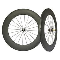 Wholesale Novatec Hub Rear Front - road Carbon wheelset clincher tubular 88mm , novatec 271 hubs, black spokes black nipples Road bike use ems free shipping