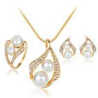 Women Party Jewelry Set Pearl Crystal Pendant necklace Wedding Ring Earrings Set Gold Plated Bride Bridesmaid Wedding Jewelry