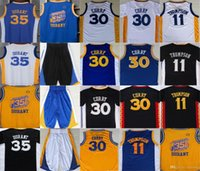 Embroideried Warrior GoldenState # 30 Stephen Curry # 35 Kevin Durant # 11 Klay Thompson Mens Maglia da basket all'ingrosso Spedizione veloce