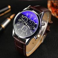 relógios de pulso venda por atacado-Hot Montre, Popular Novos Homens Relógio De Luxo Da Marca de Negócios Hora Faux Mens De Couro Azul Ray De Vidro Relógios De Quartzo Analógico