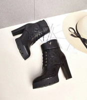 Wholesale Black Shoes For Ladies - Luxury New Platform Winter High Heel Boots For Womens Cowskin Ladies Ankle Heels 100MM Booties Shoes Free Shipping SZ35-39