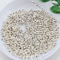 ingrosso braccialetto in rilievo di perle-Caldo ! 2000pcs / lotti perline in metallo argento placcato rotondo perline 3mm Accessori fai da te Fit collana di perline braccialetto