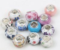 Wholesale Hole European Charms - Handmade Porcelain Ceramic Big Hole Beads 60pcs lot Mix 14X9mm Fit European Charms Bracelets Jewelry DIY