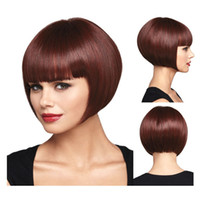 Wholesale Attractive good hand feeling tangle free no shedding wine red burgundy synthetic straight bob hair wig