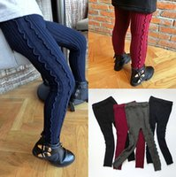 Wholesale Baby Knit Knitting Pants Leggings - Baby Kids Girls Leggings Pants Knit Stirped Trousers Kids Winter Autumn Leggings Knitted Pants 4 Colors