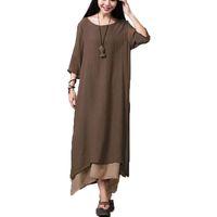 Wholesale Dresses Xxl Maxi - Wholesale-Fashion Cotton Linen Vintage Dress 2015 Summer Autumn Women Casual Loose O Neck Boho Long Maxi Dresses Vestidos Plus Size L-XXL