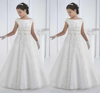 Wholesale Dress First Comunion - first communion dresses floor length princess white flower girl dresses girls white communion dresses vestidos de comunion