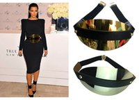 Wholesale Metal Oval Belt - 2015 Brand Designer belts for women gold Silver wide oval metal plate metallic elastic belt 14cm wide wedding belt