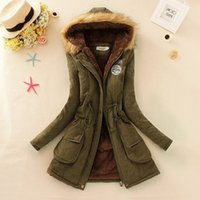 Wholesale Womens Fashion Military Jacket - 2015 new Winter Womens Parka Casual Outwear Military Hooded Coat Winter Jacket Women Fur Coats Woman Clothes manteau femme