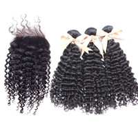 Brazilian Bundle Hair With Lace Closure Kinky Curly Weaves Mink Hair Remy Human 3PCS Cheap Hair Extensions 1p fermeture