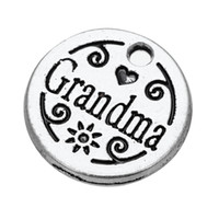 Wholesale Disc Charms - For Gift&University 50pcs a lot Zinc Alloy Antique Silver Plated Floating Grandma Disc Pendant Charms For Gift&University DIY Jewelry