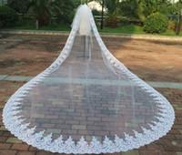 uzun katedral uzunluğu gelinlik toptan satış-Gerçek Örnek Vintage 5 m * 3 m Katedrali Uzunluğu Uzun Düğün Veils İki Katlı Gelin Elbiseler Peçe Dantel Aplike Tül Ile Ücretsiz Tarak Custom Made