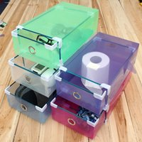 Multicolore option Transparent chaussures en plastique transparent Boot Box empilable pliable tiroir de rangement Box Organisateur Rectangle 30 x 9cm