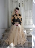 Wholesale Nude Scarves - 2016 Long Tulle Evening Dresses A-Line Long Sleeves High Neck Scarf Abaya In Dubai Kaftan Islamic Lace Appliques Prom Dresses Evening Gowns