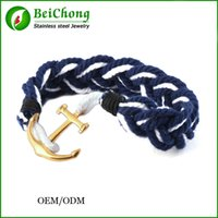 Wholesale Gold Anchor Wrap Bracelet - BC Jewelry Anchor Infinity Wrap Rope Charm Fish Hook With Nautical Rope Paracord Bracelet For Mens And Womens Miansai Style BC-133