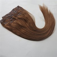 Wholesale clip human hair extensions 8pcs online - Soft Human Hair Clip in Hair Extensions Brazilian Hair Dyeable Remy Hair pack g Customize Tangle Free