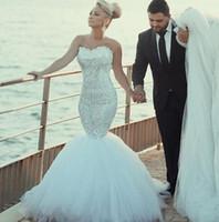 Wholesale Shinny Beads - Gorgeous Lace Wedding Dresses Shinny Beaded Crystal Mermaid Bridal Gowns Sweetheart vestido de noiva Detachable Train Wedding Party Dress