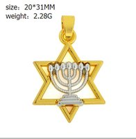 Wholesale Charm Jewish - 30pcs lot 18K Gold and Silver Plated Necklaces Jewish Faith Two Tone Menorah in David Star Religious Charm Necklace Faith Jewelry for Women