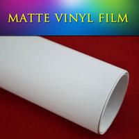 Wholesale White Matte Car - 1.52x30m(5x98ft) Stretchable car vinyl film satin matt finish Matte Flat White Vinyl film for vehicle tuning
