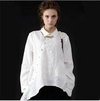 senhoras camisa de linho branco venda por atacado-Plus Size Mulheres Bolsas de Roupas Vintage Senhoras Casuais Camisas Longas Camisa de Linho Branco Das Mulheres Algodão Irregular De Linho Grandes Camisas