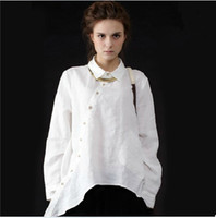Wholesale Vintage Linen Clothing - Plus Size Women Vintage Clothing Pockets Casual Ladies Long Shirts White Linen Shirt Womens Irregular Cotton Linen Big Shirts