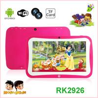 comprimidos de rockchip venda por atacado-Kid Educacional Tablet PC 7 Polegada Tela Android 4.4 Rockchip RK 3126 1.2 Ghz 512 MB RAM 8 GB ROM Câmera Dupla WIFI Crianças Tablet PC Varejo