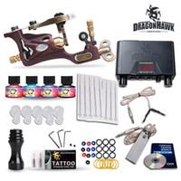 fonte de alimentação máquina de tatuagem eua venda por atacado-Kit de Tatuagem de alta qualidade Máquina Armas Tintas de Cor Dos EUA Agulhas de Alimentação Conjunto de Dicas HW-22GD-2