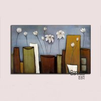 Wholesale Still Life Paintings Vases - White Flowers in the Vase 100% Hand Painted Still Life Oil Painting Modern Home Wall Decoration