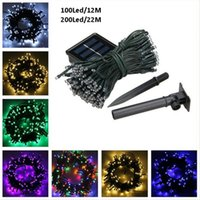 Wholesale Green Power Lamp - Christmas lights 100 LED 200 LED Outdoor 8 Modes Solar Powered Strings Light Garden Christmas Party Fairy Lamp led strings lamps 10M 22M