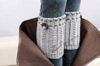 chauffe-bottes achat en gros de-Gratuite expédient des femmes femmes Crochet tricoté jambières hotsale Boot Cuff bouton vers le bas Tricot Ballet à la main Jambières De Noël Bottes Chaussettes couvre