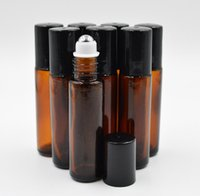 Wholesale Empty Glass Roll Bottles - 10ml 1 3oz Thick AMBER Glass Roll On Bottle Essential Oil Empty Aromatherapy Perfume Bottle + metal Roller Ball BY DHL Free Ship