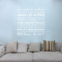 Wholesale peel life - French Quotes Wall Stickers The Rules of Happiness Vinyl Wall Stickers Home Decoration FQ0001